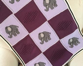 Crochet Baby Blanket, Baby Blanket, Crochet Elephant Baby Blanket, Crochet Blanket, Crochet Elephant Blanket, Elephant Baby Blanket, Blue