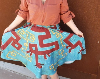 Ancient Dragons Midi Skirt With POCKETS   Mayan Inspired Street Fashion Long Skirt   One Size and Plus Size