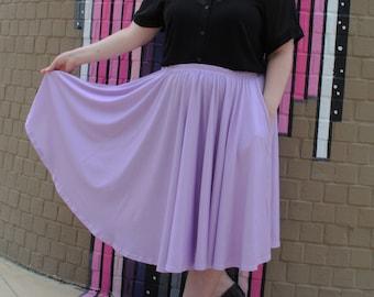 Lavender Midi Skirt With POCKETS   Pastel Light Purple Harajuku Fashion   One Size and Plus Size