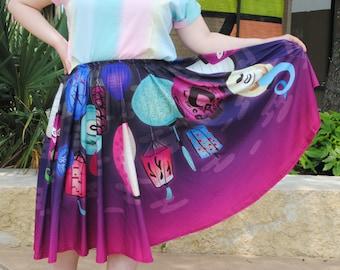 Lantern Festival Midi Skirt WITH POCKETS   Spooky Ghost Yokai Monster Street Fashion   One Size and Plus Size