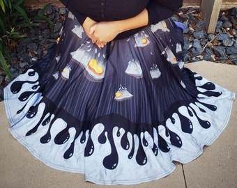 PREORDER Ink and Honey Midi Skirt With POCKETS   Inky Cap Mushroom Goth Faerie Fairy Fae Unseelie Streetwear   One Size and Plus Size