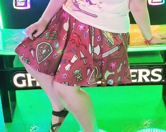 Dungeon Crawler Skater Skirt WITH POCKETS   DnD Dungeons and Dragons Circle Skirt   Tabletop RPG Skater Skirt   One Size and Plus Size