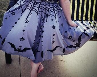 Plus Size Twinkle Twinkle Little Bat Midi Skirt WITH POCKETS   Goth Halloween Street Fashion