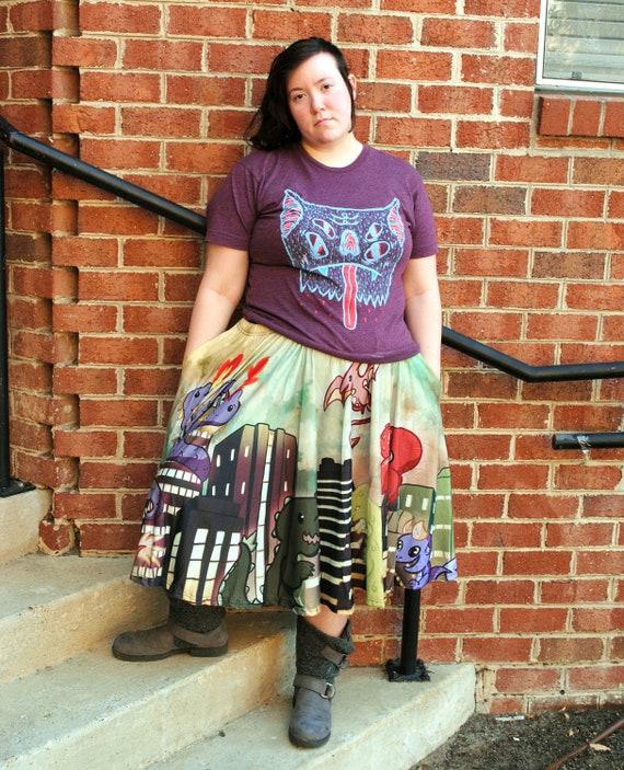 Goth Halloween Street Fashion Twinkle Twinkle Little Bat Midi Skirt WITH POCKETS One Size