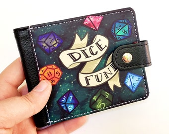 Dice Fund Wallet With Side Clasp and ID Window   DnD Dungeons and Dragons Bi-fold Wallet   Vegan Leather Wallet