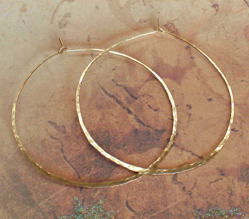 Hammered Gold Hoops Delicate 14K Yellow Gold Earrings Rose image 0