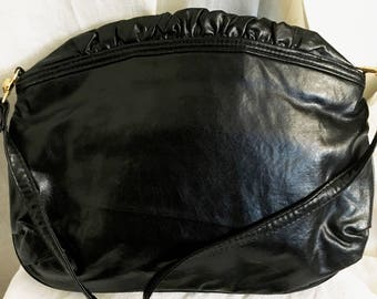 Vintage 1980s Totes Adorbs Black Leather Ruffle Jiffy Bag Purse