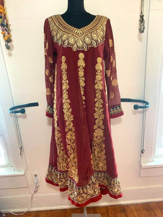 Vintage 80s Silk Dress Gold Embroidery from India