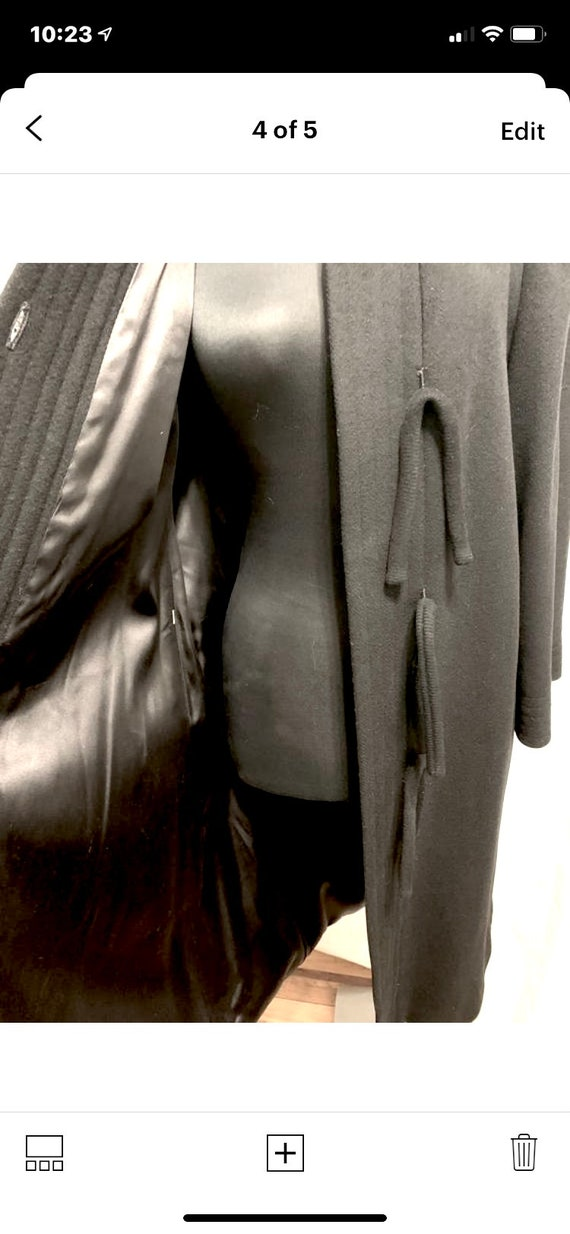 Vintage 1980s Pauline Trigere Black Wool Coat Siz… - image 4