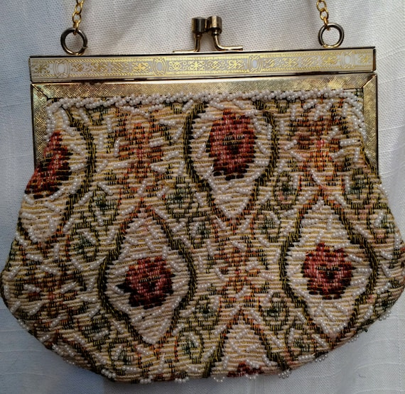 Vintage 1950's Beaded Tapestry Evening Bag Purse