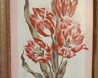 Vintage Still Life Pink Tulips Paint by Number Painting