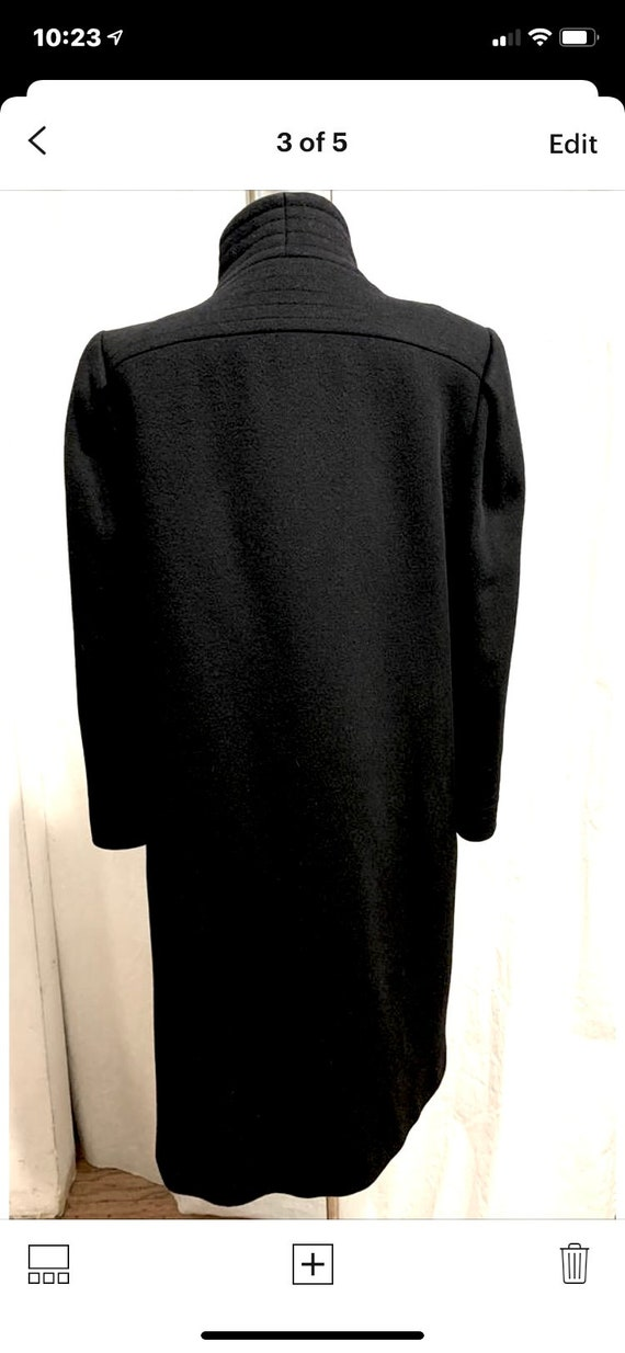 Vintage 1980s Pauline Trigere Black Wool Coat Siz… - image 3