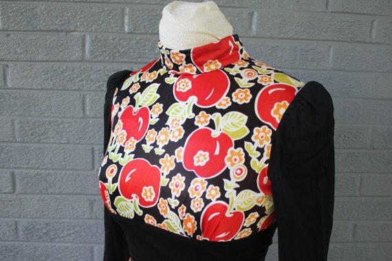 1960/'s 1970/'s Joseph Ribkoff Mod Maxi Dress w Apple Print