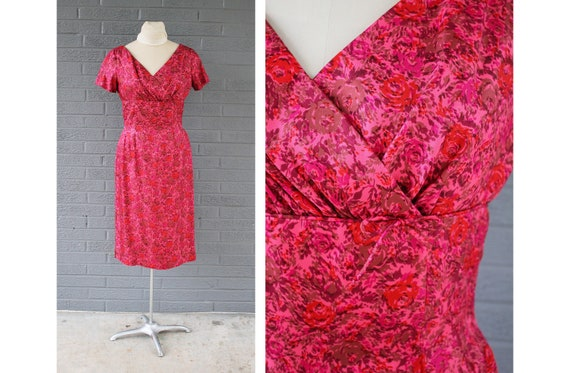 1950s 1960s Pink & Red Satin Floral Hourglass Dres