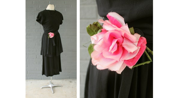 1930's 1940's Gay Gibson Tiered Dress with Floral