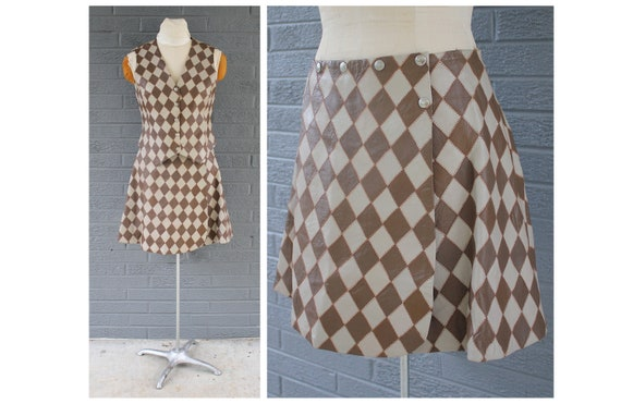 1960's Mod Carnaby Street Diamond Vest and Skirt … - image 1