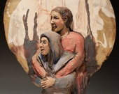 Ceramic figure sculpture couple, wall hanging lovers hug deep relief art, embrace