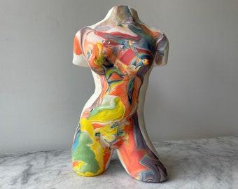 Nude Torso Vase Sculpture Pottery Female Figure Vessel Erotic Ikebabna Jar, Mature Classical Surreal Art Figurine Fragment Colored Porcelain