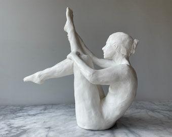 Porcelain nude figure sculpture balancing ceramic dancer statue figurine body model mature