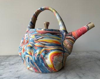 Colorful face teapot sculpture pottery head vessel, marbled slip drips bust portrait dreamer surreal fluid painting ceramic art