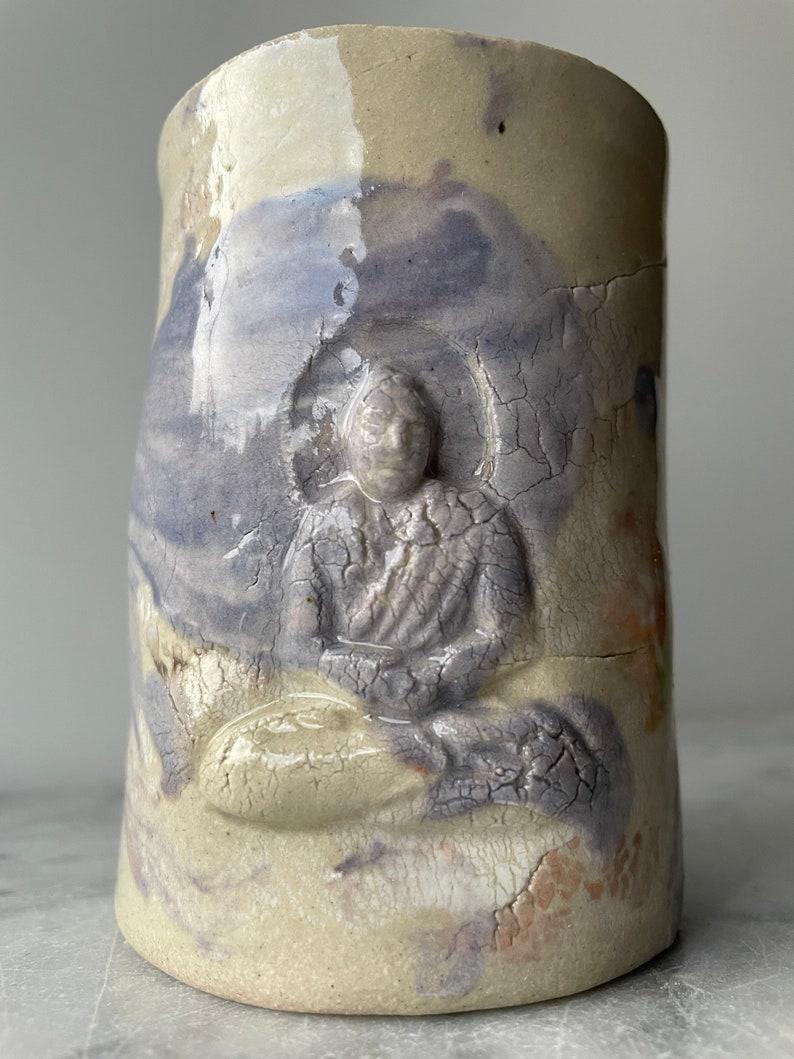tumbler drinking vessel full spectrum porcelain slip drips meditation yoga art pottery Marbled Buddha Cup