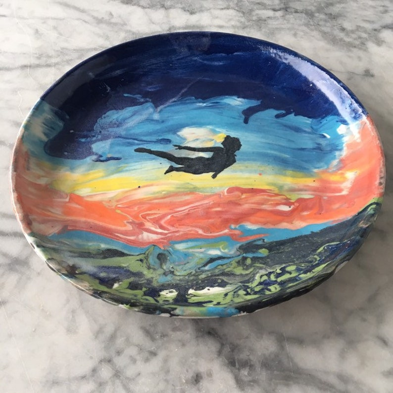 Landscape painting plate marbled sunset art pottery flying dream platter functional wall hanging fluid sky sunrise woman/'s figure silhouette