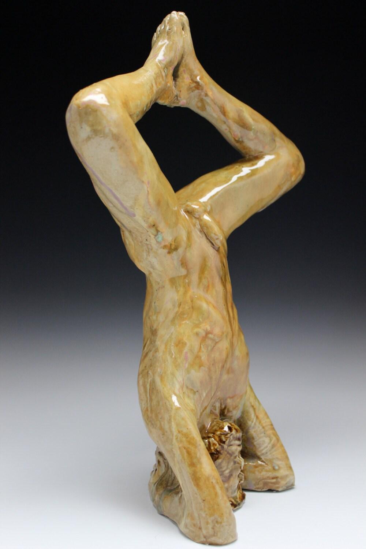 Yoga Art Headstand Sculpture Naked Man Sirshasana Mature