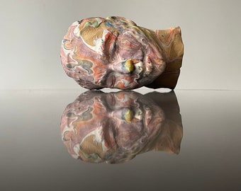 Ceramic head sculpture portrait bust of a woman, marbled fluid porcelain drip painting on stoneware