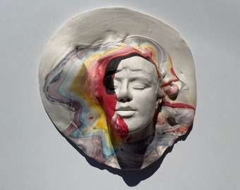 Ceramic Wall Art Mask of a Woman, Sculpture Face Portrait Head Colored Porcelain Clay