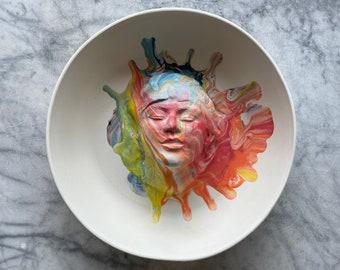 Marbled face plate sculpture wall hanging platter portrait relief fruit bowl figure art pottery bird bath head of a woman halo porcelain