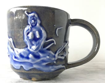 Buddha Mug Meditation Art Bas Relief Sculpture Cup porcelain Slip Texture Blue Glazed Pottery