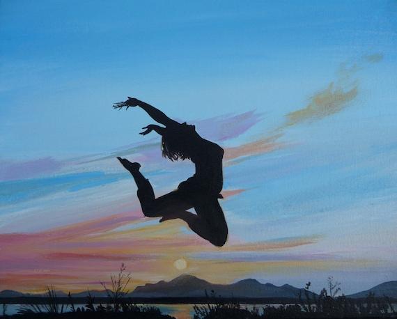 Salti di gioia originale dipinto figura arte tramonto | Etsy
