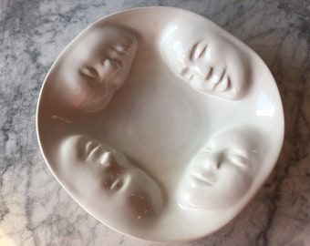 Made to order Four Faces Bowl, Wall Hanging Platter Ceramic Serving Vessel Figure Sculpture Bas Relief Faces Roundel Relationship Art