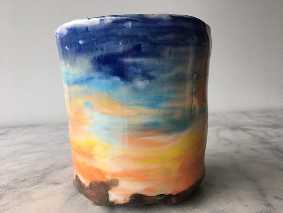 Sunset face cup drippy marbled colored porcelain slip pottery fluid art ceramics vessel yunomi teacup mug sculpture