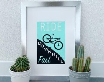 Bike Ride Silk Screen Print, Minimalist bike art Workshop decor, Mountain Biking Cyclist gift, Hand Pulled Print Unframed