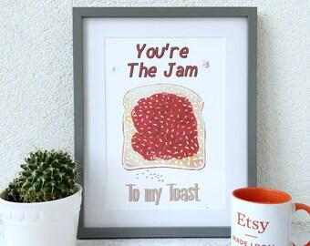 Jam toast Print Raspberry Jam Humourous Print, 1st Anniversary gift, Kitchen wall art, Matt archival paper Unframed