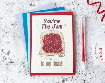 Jam Toast greetings card, Happy post Missing you Breakfast card, 1st Anniversary gift lino print