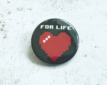 8 bit Heart Pin Badge Collector Gift, Retro Gaming Geeky Gift, Gift for Computer Programmer
