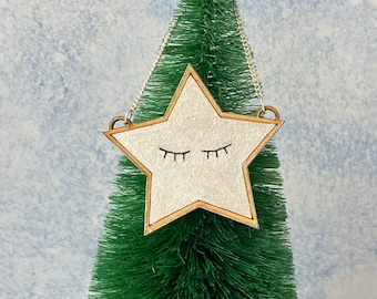 Sleeping star tree topper silver star, geeky home decor video game lover programmer gift