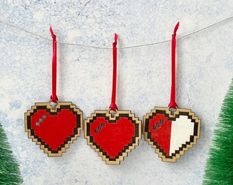 8 bit heart decorations set of 3, Pixel heart Geeky home decor, Retro gaming Programmer gift laser cut heart