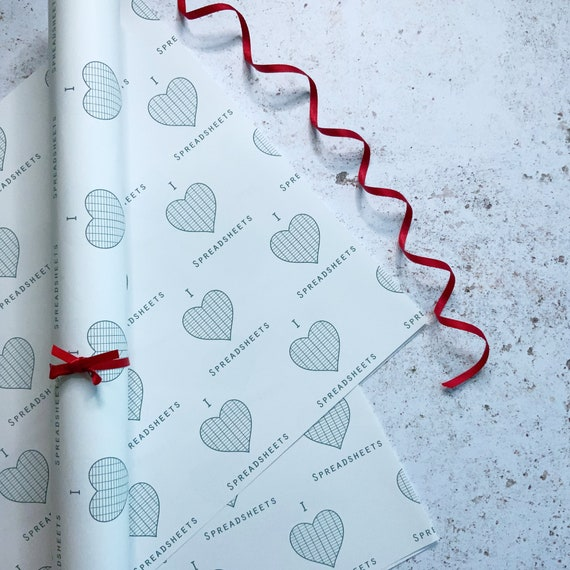 Excel Spreadsheets Gift wrap, Maths teacher Gift, Accountant Gift Eco Friendly Wrapping paper, Recycled Paper