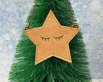 Sleeping star decoration gold star, video game lover programmer gift, retro gaming tree topper
