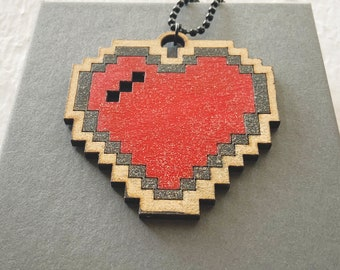 8 bit Heart Pendant Pixel Heart, Retro Gaming Programmer Gift, Laser Cut Pendant Video Games Geeky Gift