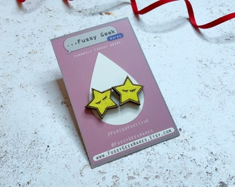 Wooden Star Earrings, Retro Gaming Video Game Programmer Gift, Walnut Earrings with Sterling Silver posts