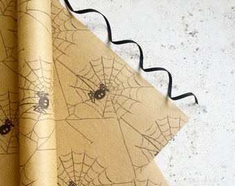 Spiderweb gift wrap Creepy crawlies Halloween themed kraft wrapping paper, Recycled gift wrap