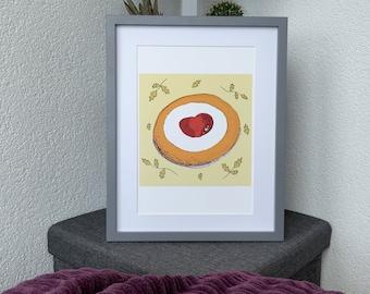 Bakewell Tart Wall Art Digital Illustration, Gluten free Cake print, Cake lover gift or Pastry lover gift