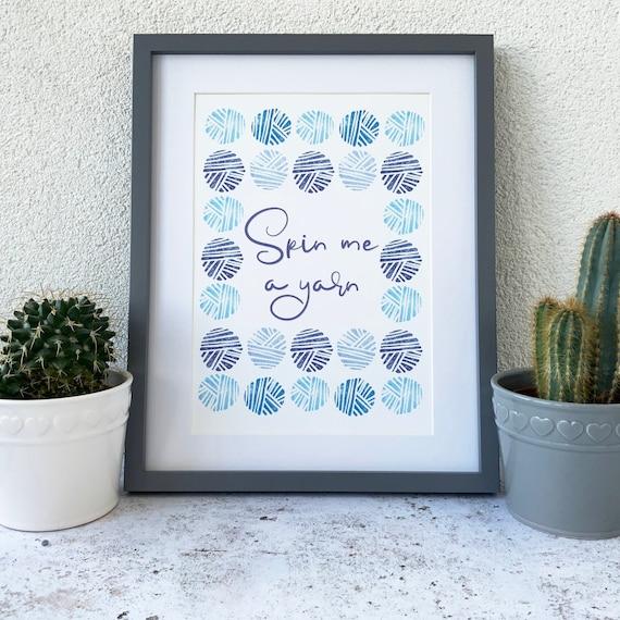 Yarn Ball Print, Wool skein Spinning print, Knitters gift Crochet lover gift, Craft room print, Matt archival paper Unframed