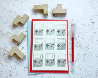 Video gamer card, Miss you card Linocut print, Programmer gift Handheld gamer gift for a Nintendo fan