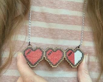 8 bit heart Pendant, 8 bit heart 5th Anniversary Gift, Computer Programmer Geeky Gift, Computer Games Heart Pendant