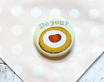 Bakewell Tart Pin Button, Gluten Free Bakewell tart cake badge, backpack pin or lapel pin